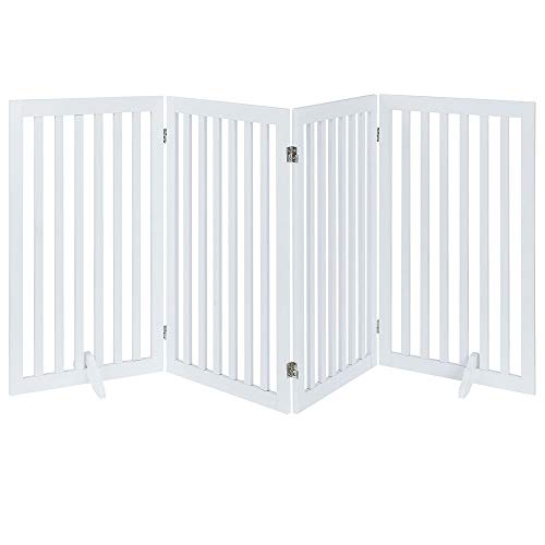 unipaws Freestanding Wooden Dog Gate, Foldable Pet Gate with 2Pcs...