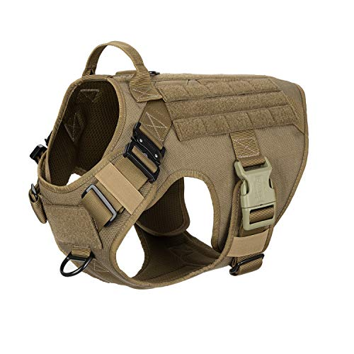 ICEFANG Tactical Dog Harness with 2X Metal Buckle,Working Dog MOLLE...