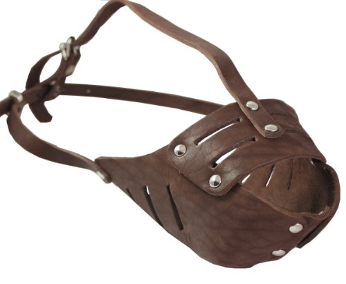 Real Leather Cage Basket Secure Dog Muzzle #118 Brown - Pit Bull,...