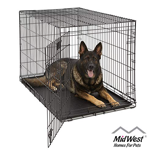 XL Dog Crate | MidWest Life Stages Folding Metal Dog Crate | Divider...