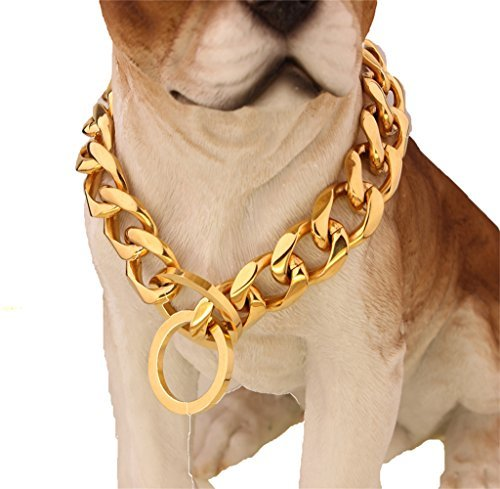 W/W Lifetime Custom Ultra Strong 19MM 14K Gold Plated Slip Chain Dog...