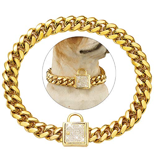 Tobetrendy Cuban Link Dog Collar Designer Gold Chain Collar with...