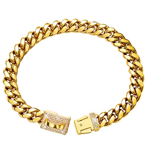 Gold Dog Chain Collar Metal Chain Collar with Cubic Zirconia Design...