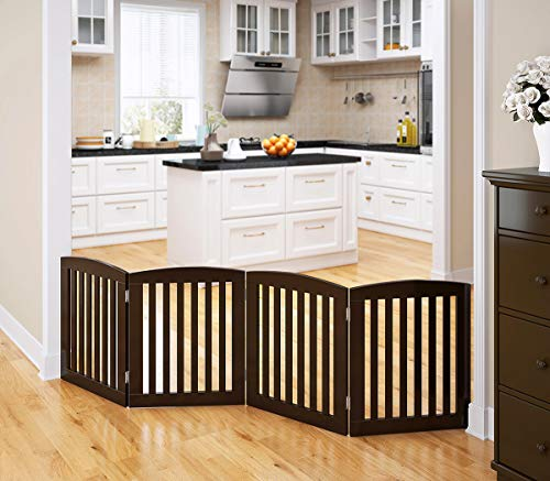 PAWLAND Wooden Freestanding Foldable Pet Gate for Dogs, 24 inch 4...