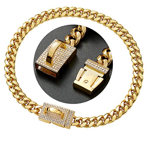 18K Gold Dog Collars Training Necklace with Diamond Buckle, Strong...