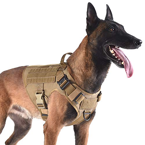 ICEFANG Tactical Dog Harness with 2X Metal Buckle,Dog Walking Training...