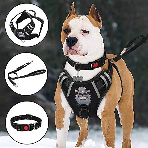TIANYAO Big Dog Harness No-Pull Dog Vest Set Reflective Adjustable...