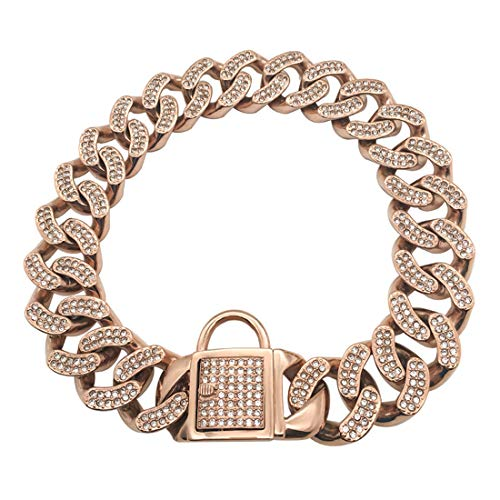 DUPFY 32MM Width Heavy Duty Cuban Rose Gold Dog Chain with Safety...