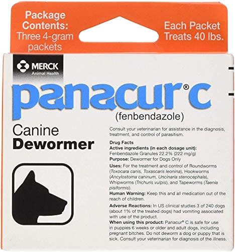 Panacur C Canine Dewormer Dogs 4 Gram Each Packet Treats 40 lbs (3...