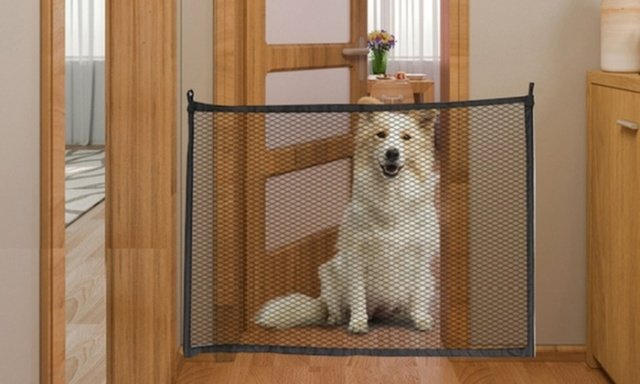 Retractable dog gate for home